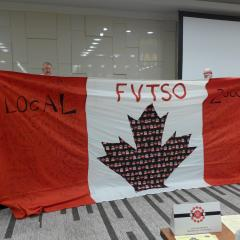 The Fraser Valley TSO sent this signed flag to show their support for the bargaining team