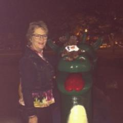 The moose with Kelowna's legendary lake monster, Ogopogo and Sue Moser
