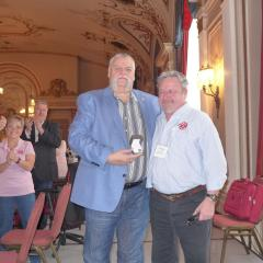 Robert Campbell receives his 40 year pin from Wayne Little